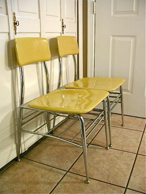 Vintage Heywood Wakefield Heywoodite Chairs In Yellow