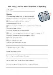 English worksheet: Peer Editing Checklist (Persuasive Letter to the ...