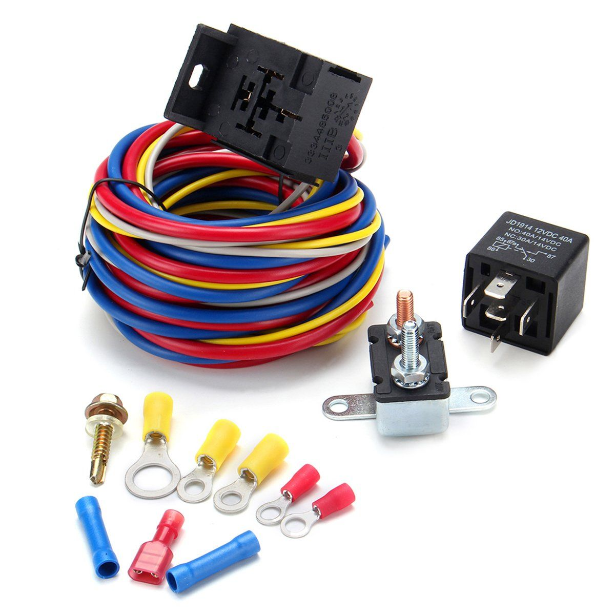 hight resolution of electric cooling fan wire harness kit relay circuit breaker wiring harness sbc sbf 302 350 454