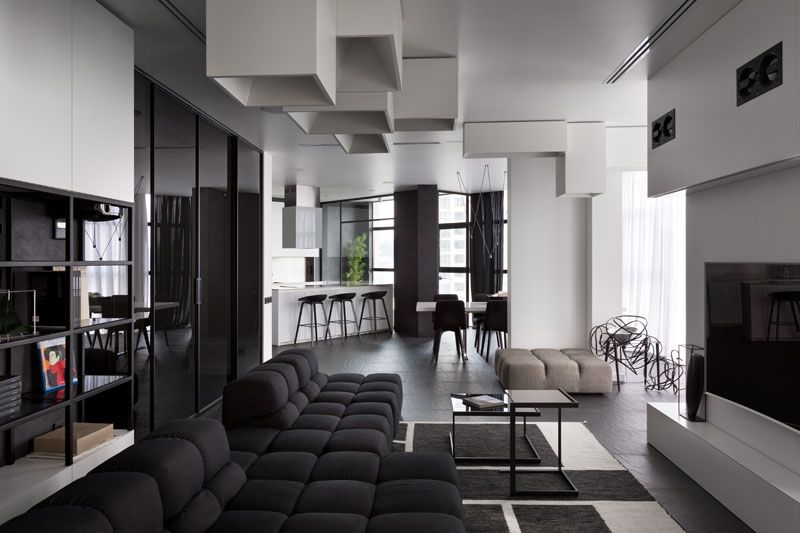 Ious And Beautiful Modern Black White Apartment In Ukraine