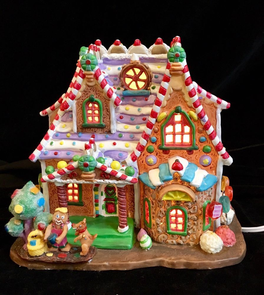 lemax sugar n spice home sweet home lighted christmas village house 2004 mint - Lighted Christmas Houses