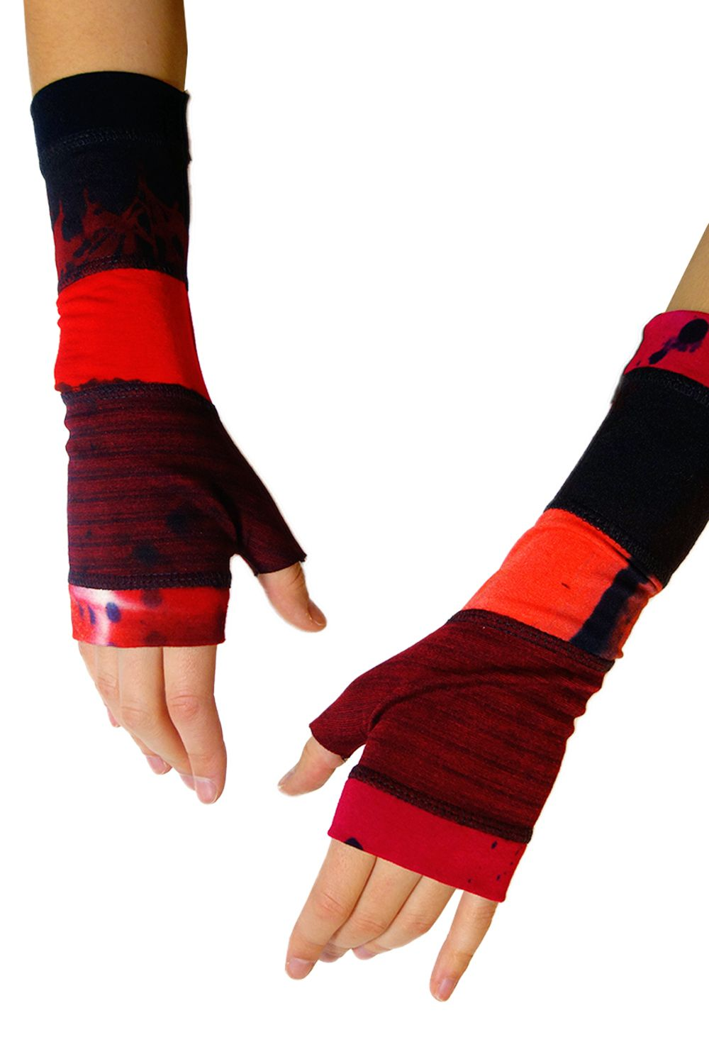 Hand dyed, beautiful fingerless gloves by Art of Cloth. Each pair and each glove is a unique piece of wearable art.