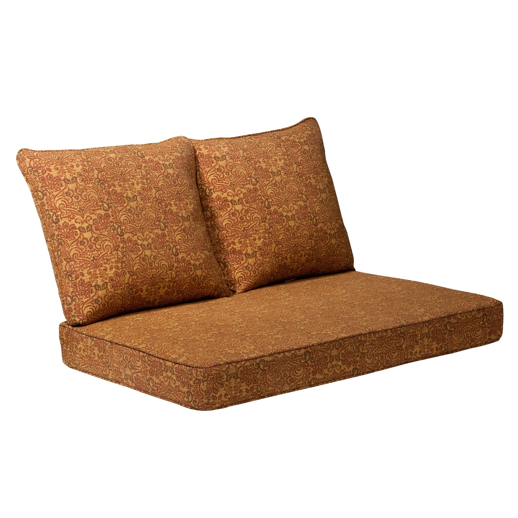 Madaga 3pc Outdoor Loveseat Replacement Cushion Set Gold Floral