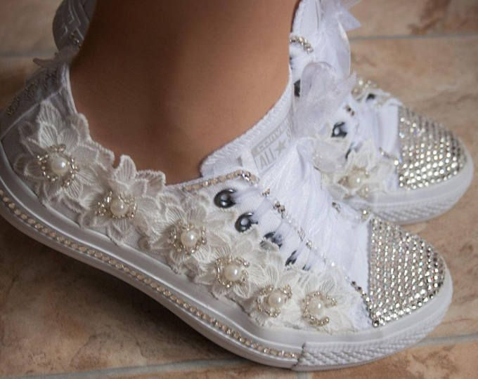 Wedding Converse Trainers With Crystals Lace Pearls Bridal Size Uk Us