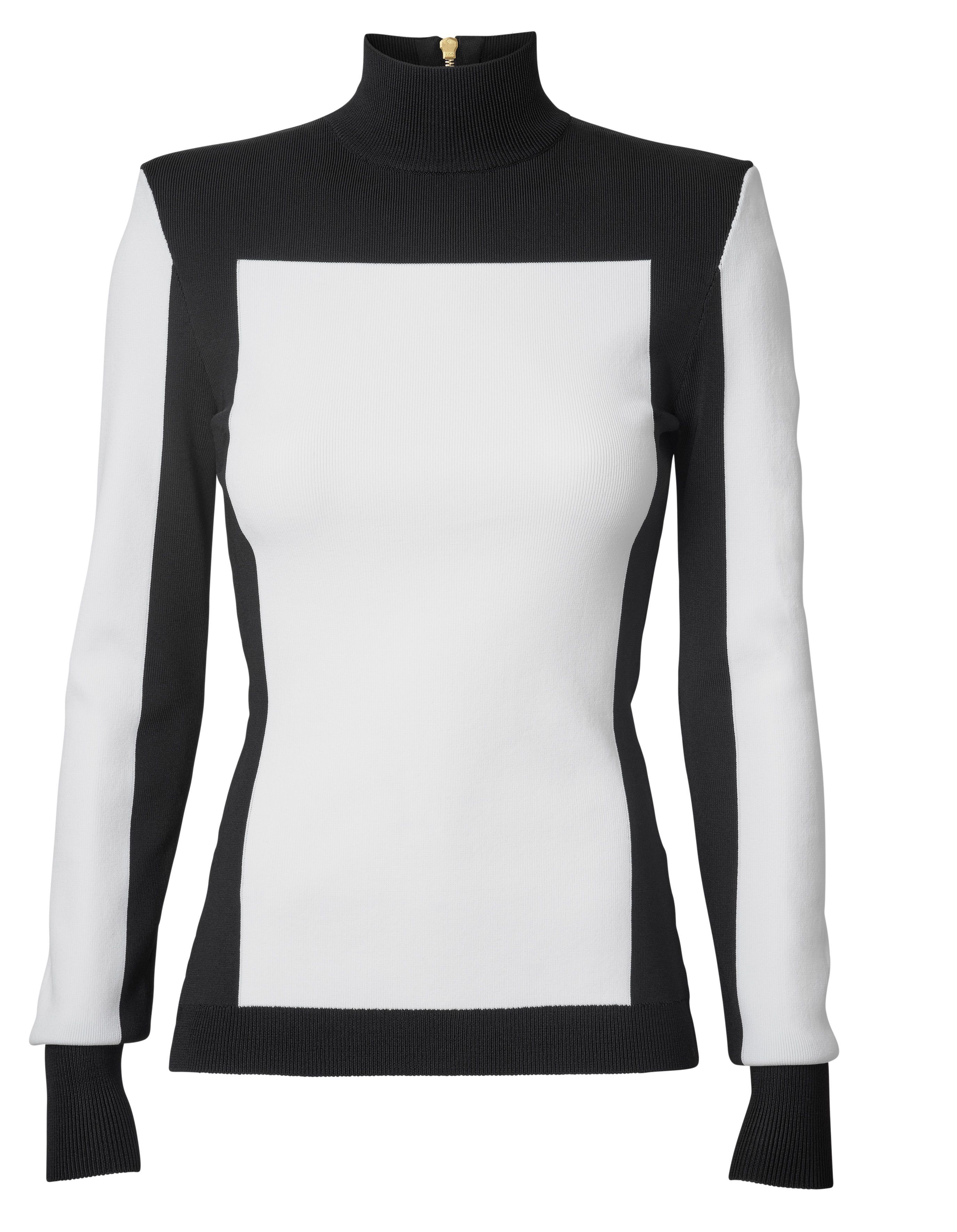 f33fc6eeb6527d H M x Balmain Colorblock Turtleneck sweater seen on Bethenny Frankel ...