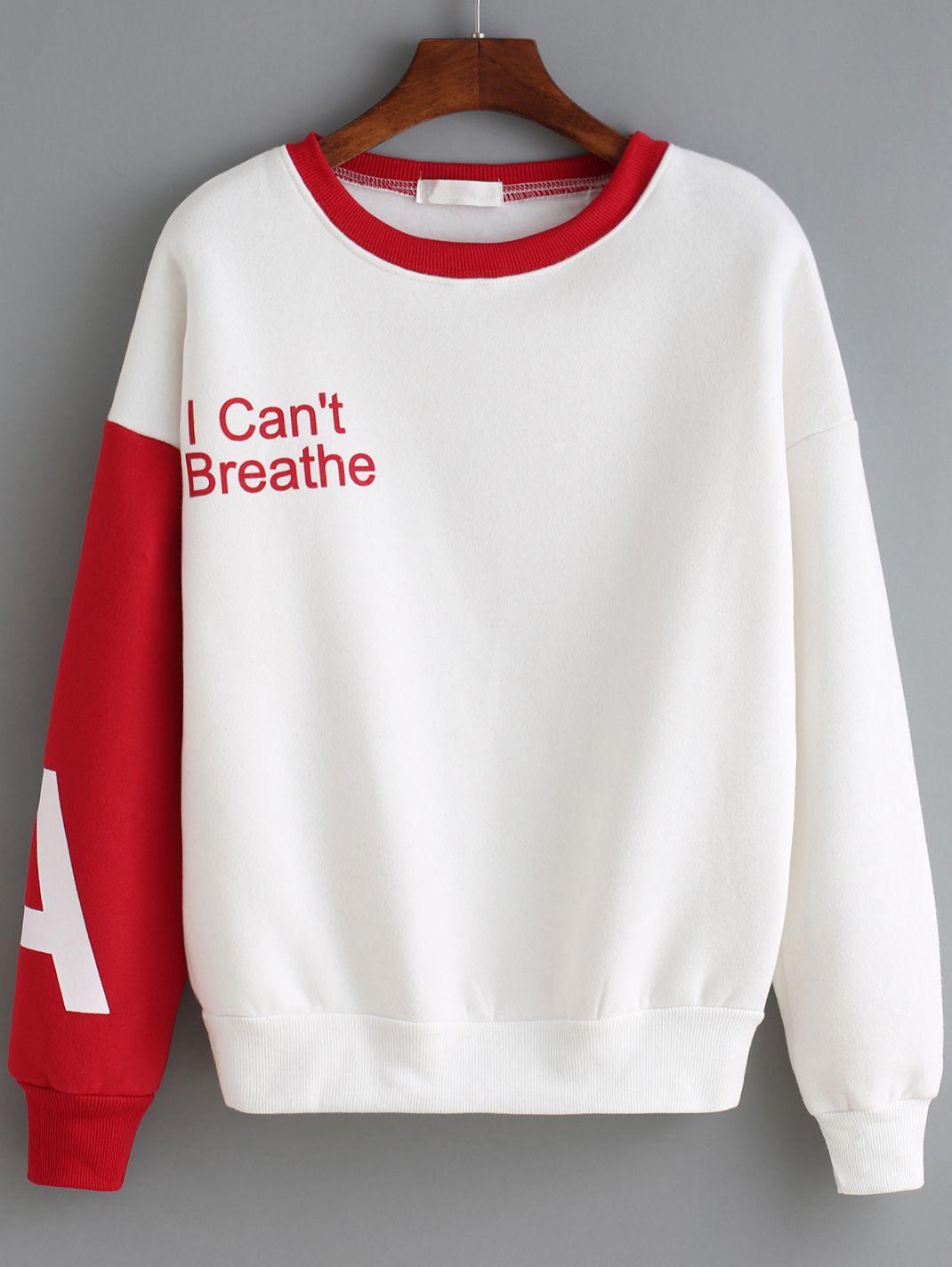 Red White Round Neck Letters Print Sweatshirt 16.14