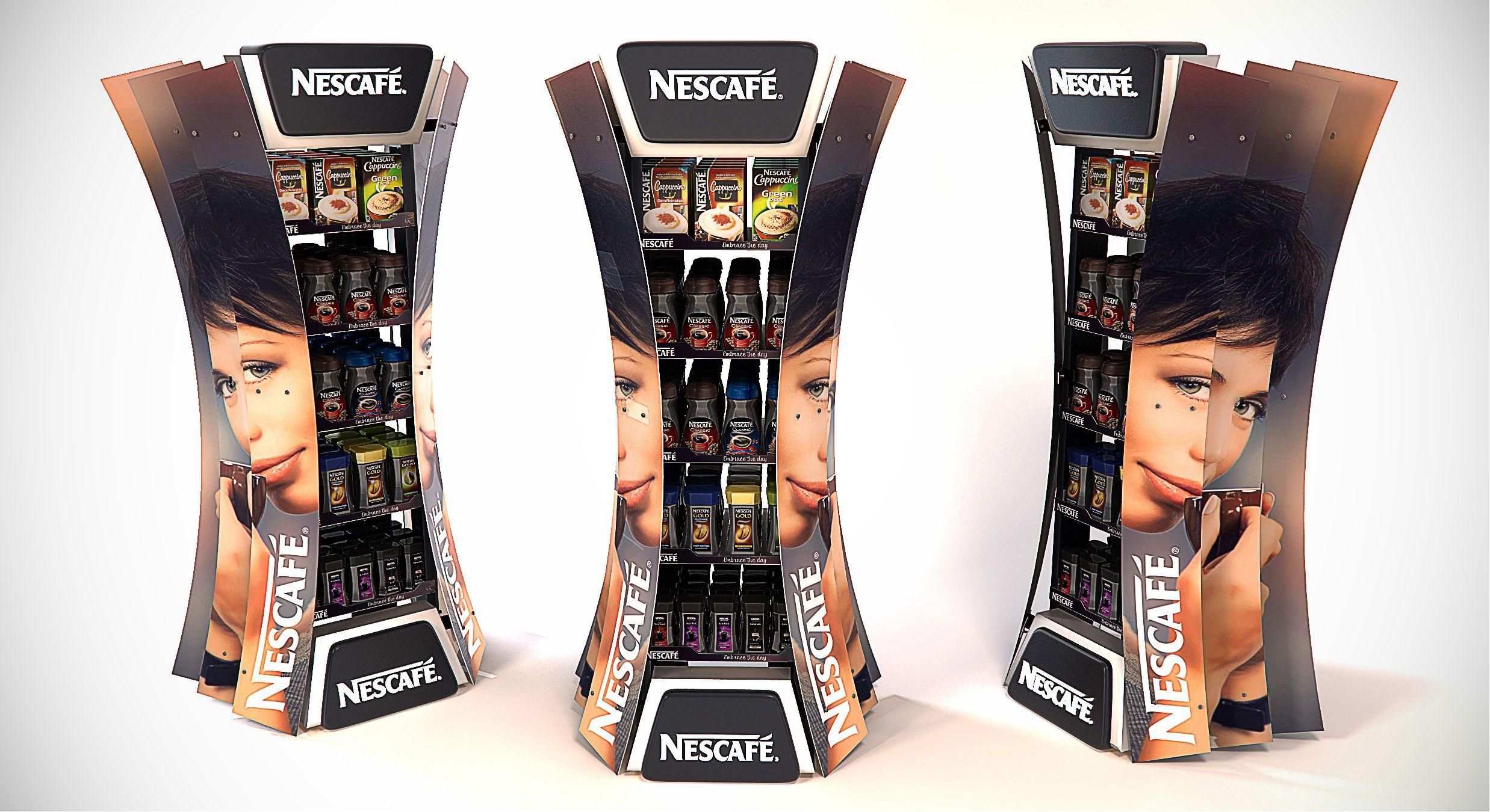 Nescafe Slat FSU, Concept, POS, POP, FSU. Designed by Lance Eggersglusz. Point of sale.