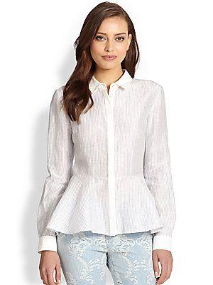 Marchesa Voyage Peplum Button-Front Shirt