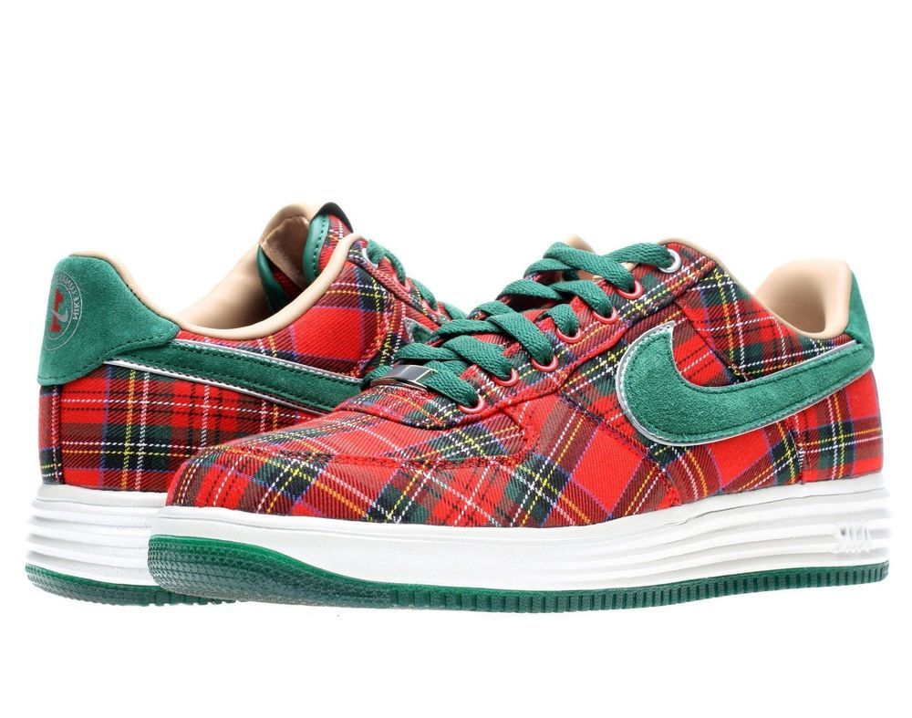 best authentic 9a608 a9498 Nike Lunar Force 1 City QS London 602862-600 New Red Green Plaid RARE size
