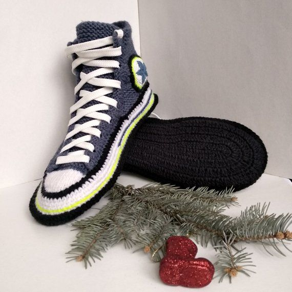 c15a7986383174 Women s house slippers Knitted converse boots Knitted converse sneakers  Adult crochet converse Socks