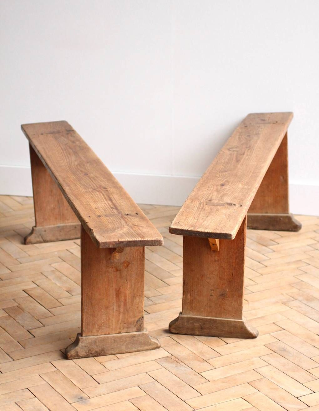 Pair Of French Vintage Antique Pine Wooden Benches 140