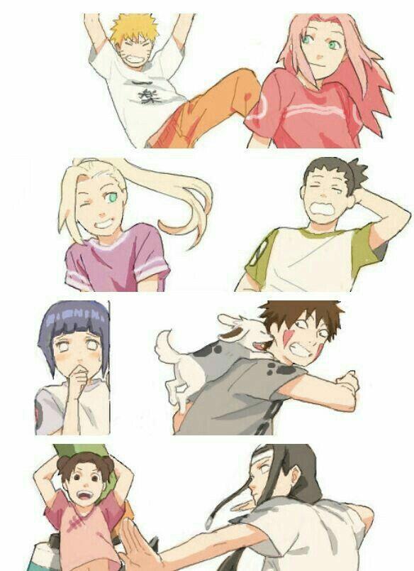 Naruto, Sakura, Ino, Shikamaru, Hinata, Kiba, Akamaru ...