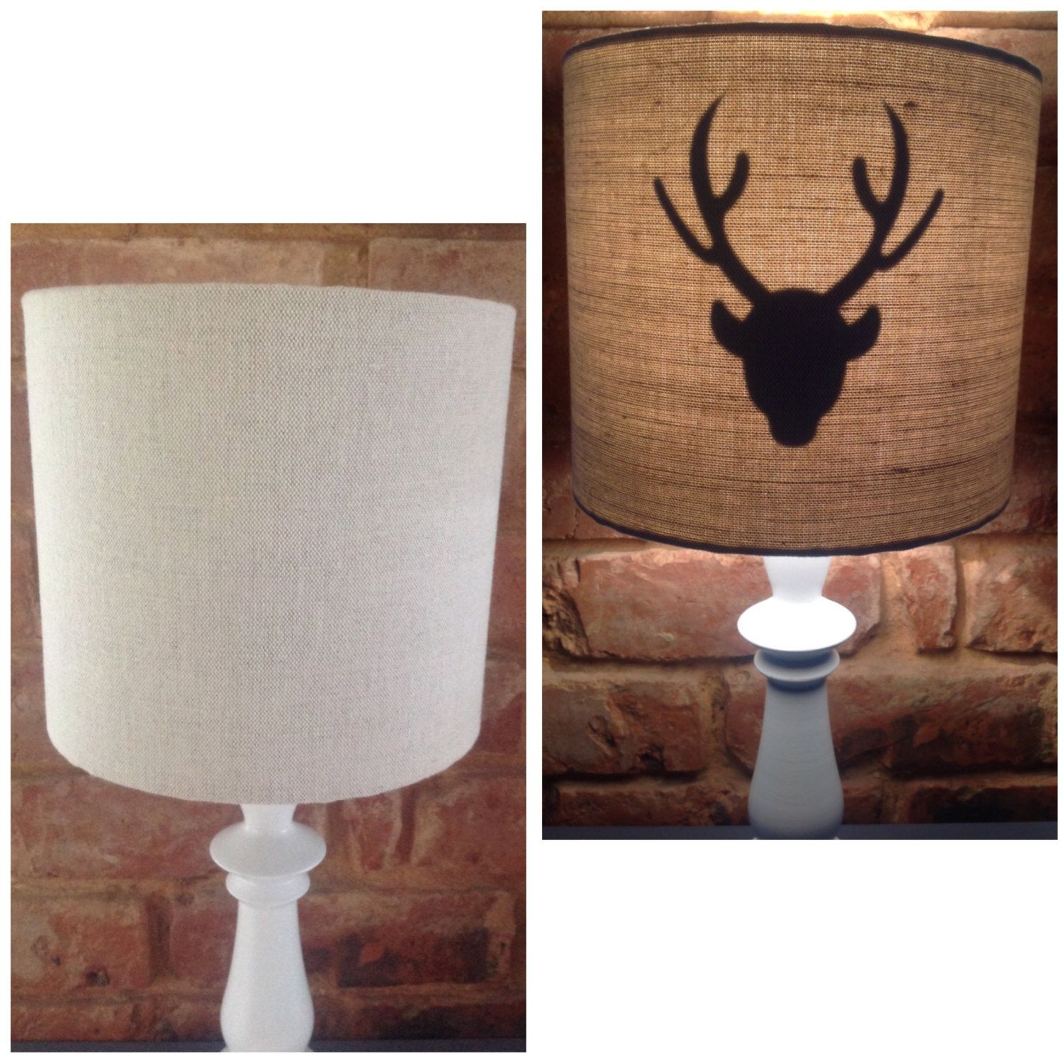 Stag Deer Head Country Lamp Shade Handmade 20Cm Drum Table