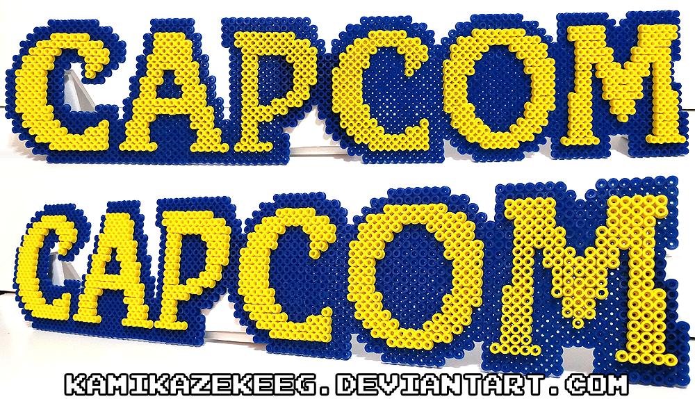 3d Capcom Logo Perler Beads By Kamikazekeeg Perler Mega Man Perler Beads