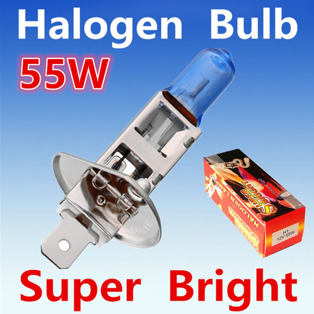 2pcs H1 55w 12v Super Bright White Fog Halogen Bulb Car Headlight Lamp Parking External Lights Xenon Car Light Sour Car Lights External Lighting Car Headlights