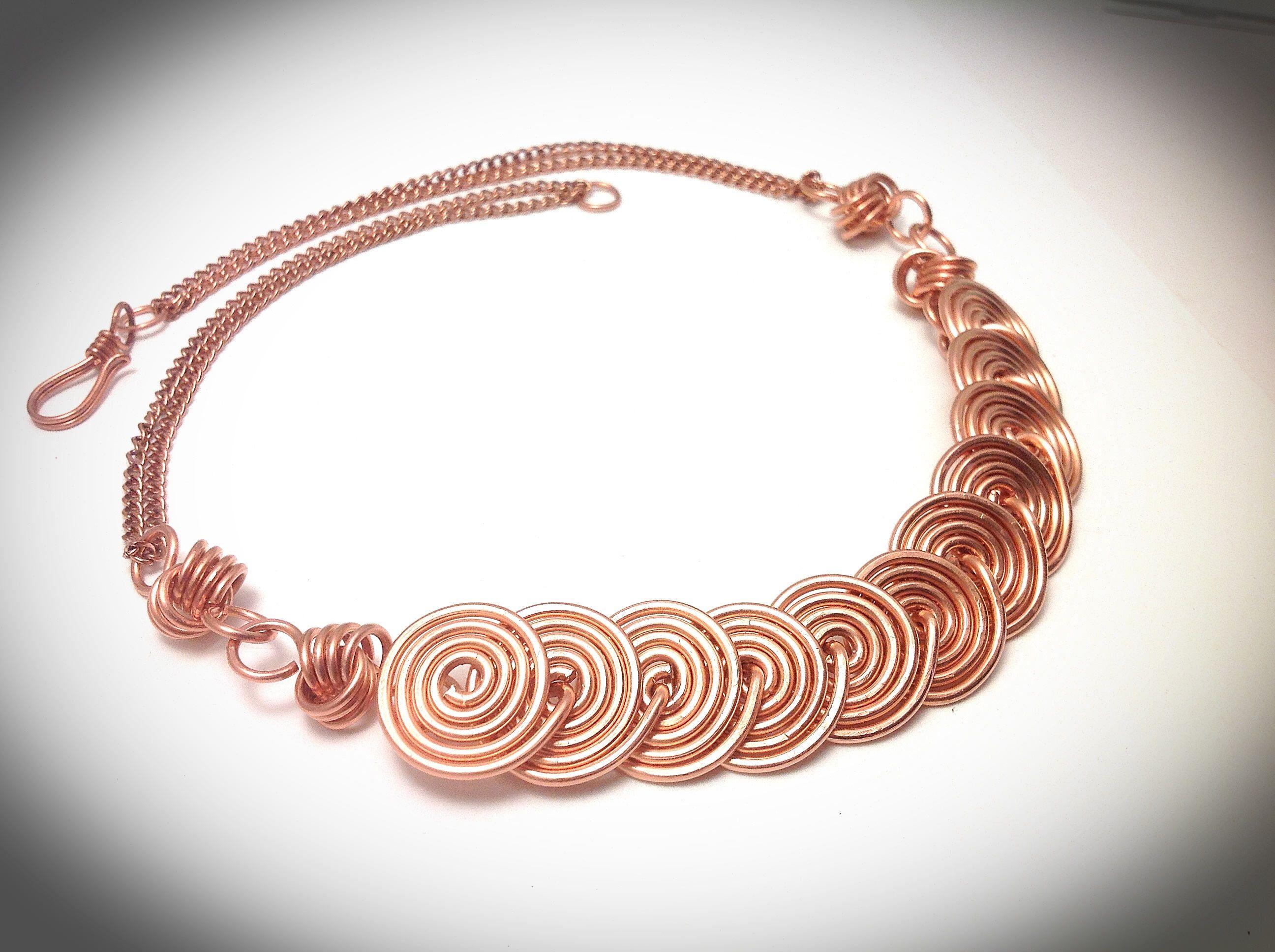 Copper wire necklace. Wirewrapped jewelry. Wire jewelry. Spiral ...