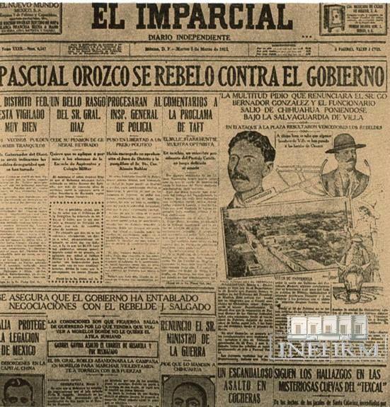 """Efemérides INEHRM.- 25 de marzo de 1912. Se ratifica el Plan de la Empacadora. Francisco I. Madero tomó posesión como presidente el 6 de noviembre de 1911. Muy pronto su gobierno fue blanco de críticas. Tuvo que hacer frente a las rebeliones encabezadas por Emiliano Zapata, Bernardo Reyes, Félix Díaz y Pascual Orozco. De ellas, la que significó un mayor desafío fue la de Orozco, quien se levantó con el Plan o Pacto de la Empacadora. Su lema era """"Reforma, Libertad y Justicia""""."""