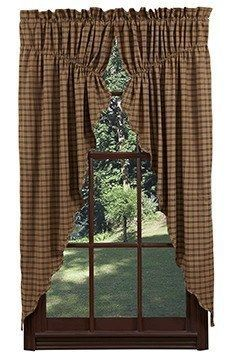 Barrington Scalloped Lined Prairie Curtains Primitive Star Quilt