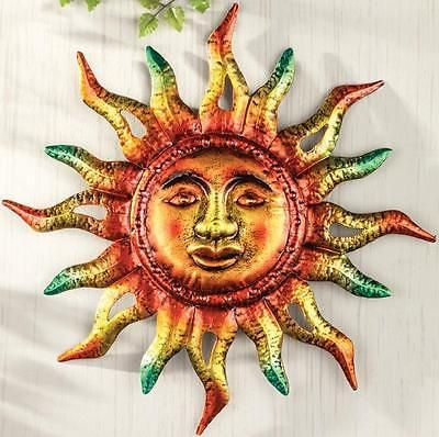 Colorful Sun W Face Wall Art Sculpture Metallic Home Yard