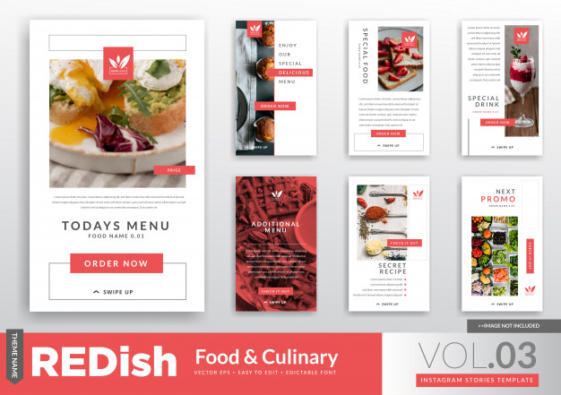 Food Culinary Instagram Stories Promotion Template Food Web Design Instagram Story Cookbook Template