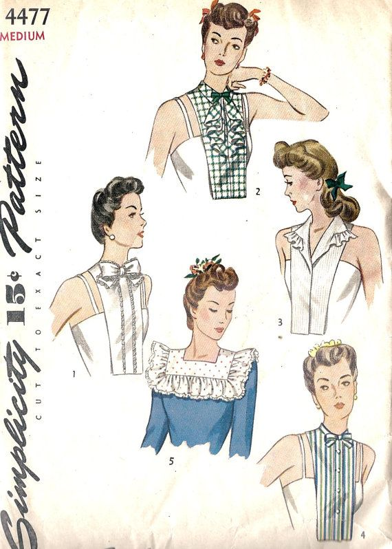 Vintage 1950/'s Sewing Pattern Set of Collars Hat Dickey Beret 1-size Rockabilly