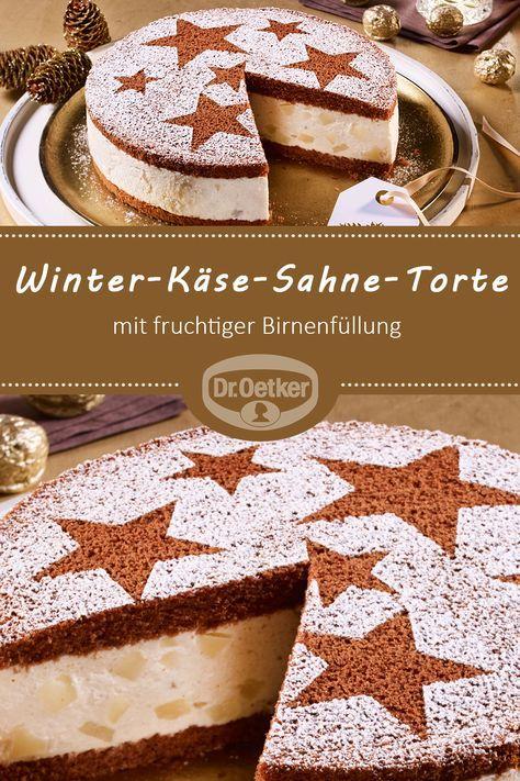 Winter-Käse-Sahne-Torte mit Birnen