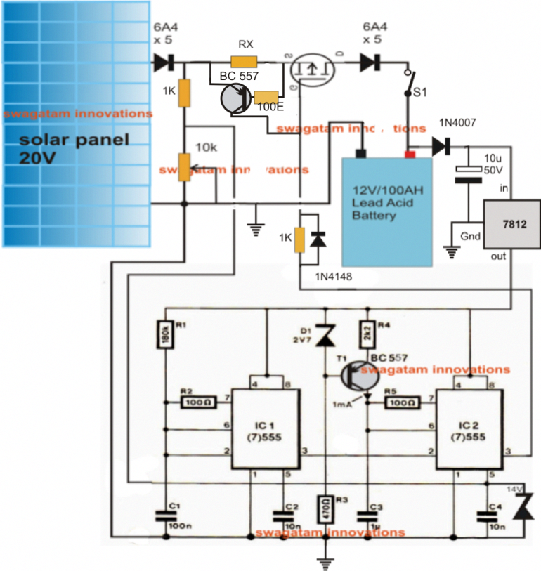 A Simple Yet Effective Solar Panel Mppt Charger Circuit Can Be Built Using A Couple Of 555 Ics And A Few Othe Solar Battery Charger Solar Charger Solar Battery