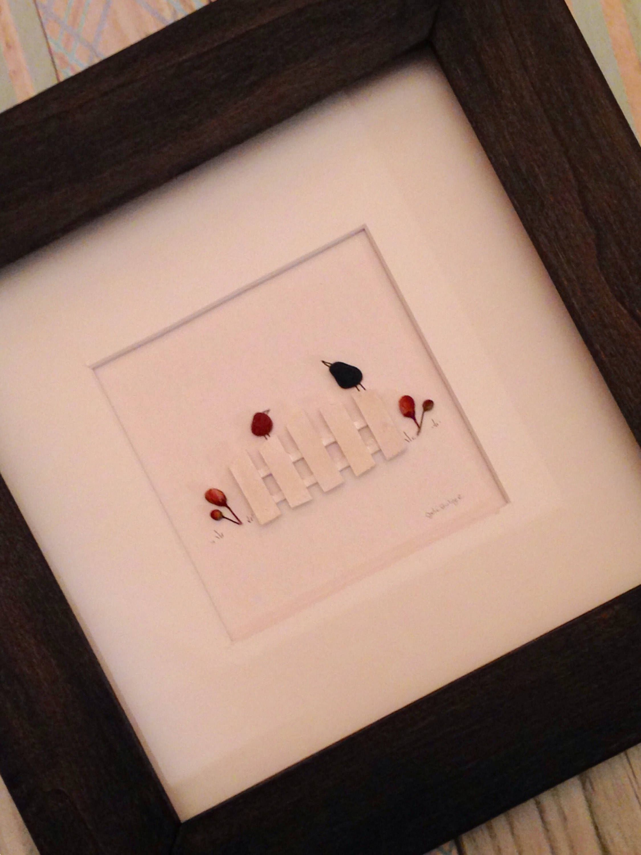 Pebble Bird Art, LOVE BIRDS, 8 x 8 framed, pebble wall art, mother ...