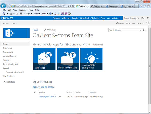 LightSwitch HTML 5 Client Preview 2 OakLeaf Contoso