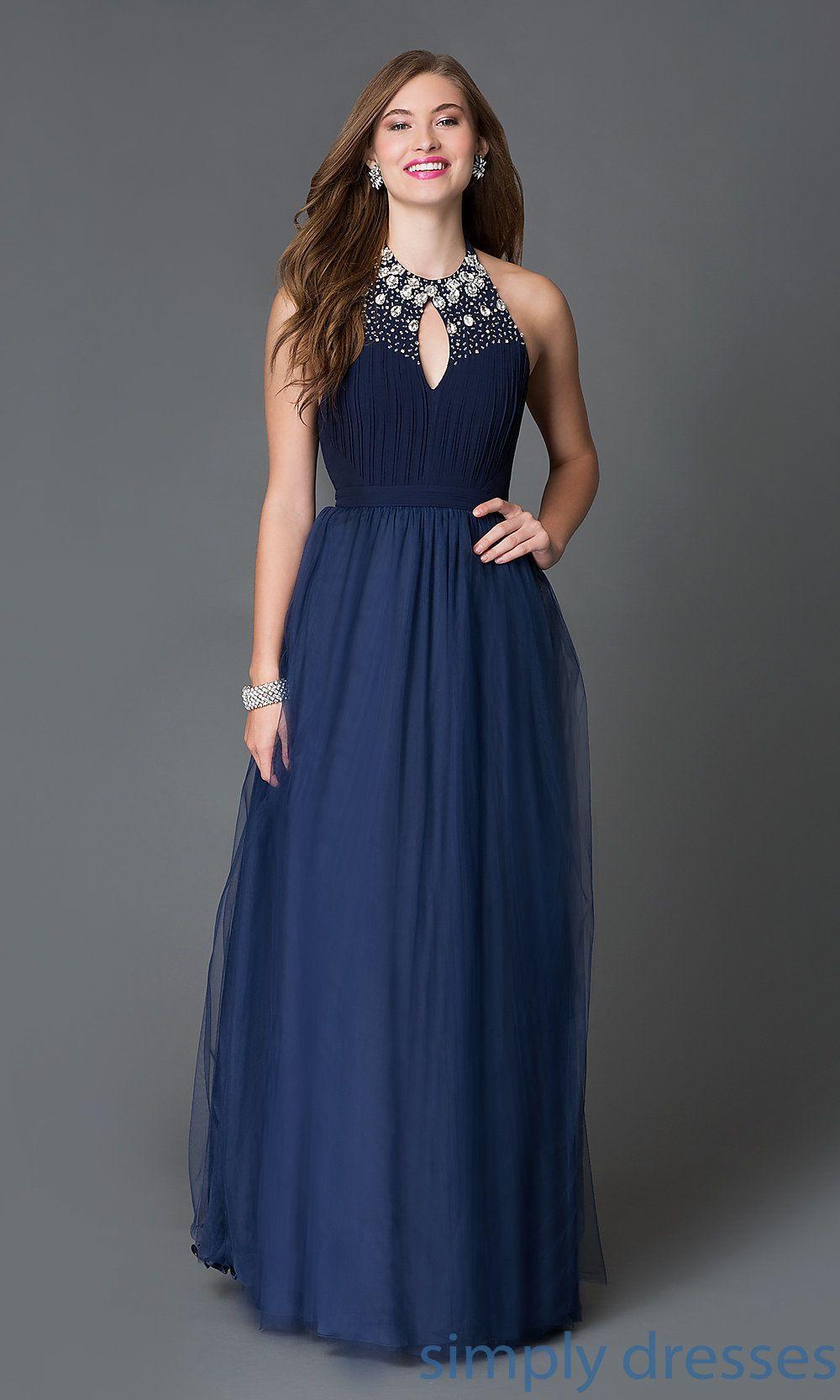 Floor Length Backless Navy Blue Halter Formal Gown Long Halter