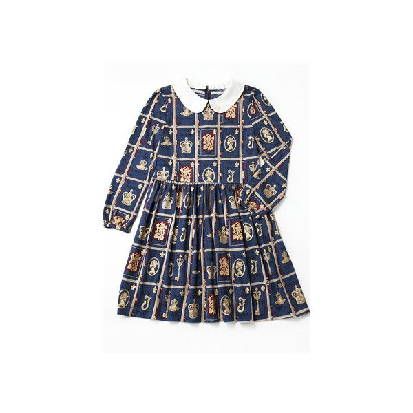 Jane Marple Online Shop :: ロイヤルライブラリーのミニワンピース 商品詳細 ❤ liked on Polyvore featuring dresses, lolita, op and blue dress