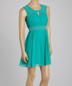 Another great find on #zulily! Teal Studded Fit & Flare Dress by Love Point #zulilyfinds