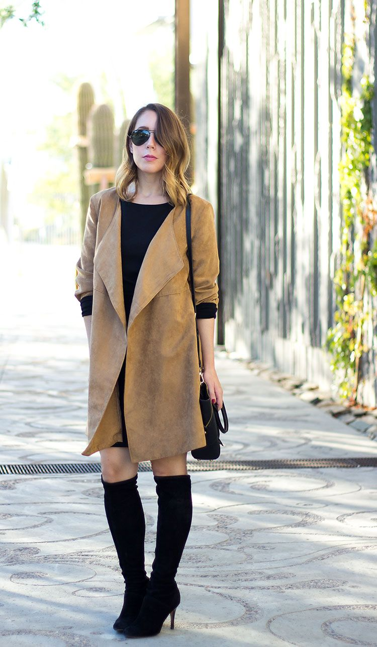 Suede Jacket, Little Black Dress, Over-the-Knee boots