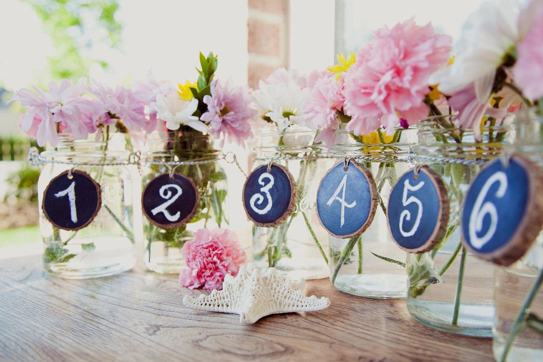 Things Brides Love Mason Jar Wedding Reception Decor Centerpieces Chalkboard Table Numbers Original Fab Pinterest