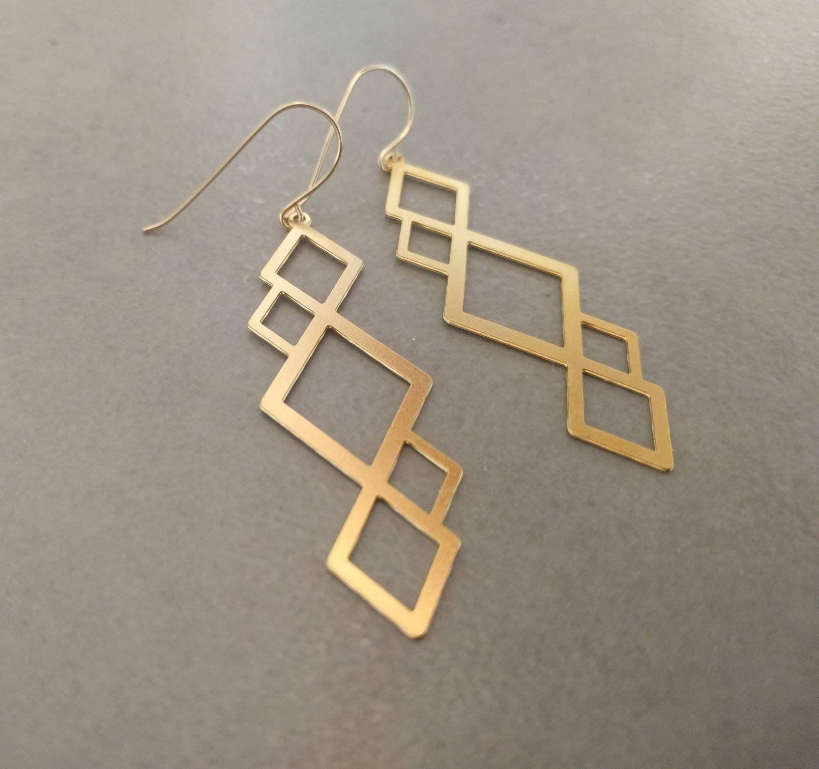 Geometric Earrings Dangle Earrings Gold Earrings Square Etsy Gold Earrings Dangle Triangle Earrings Geometric Earrings