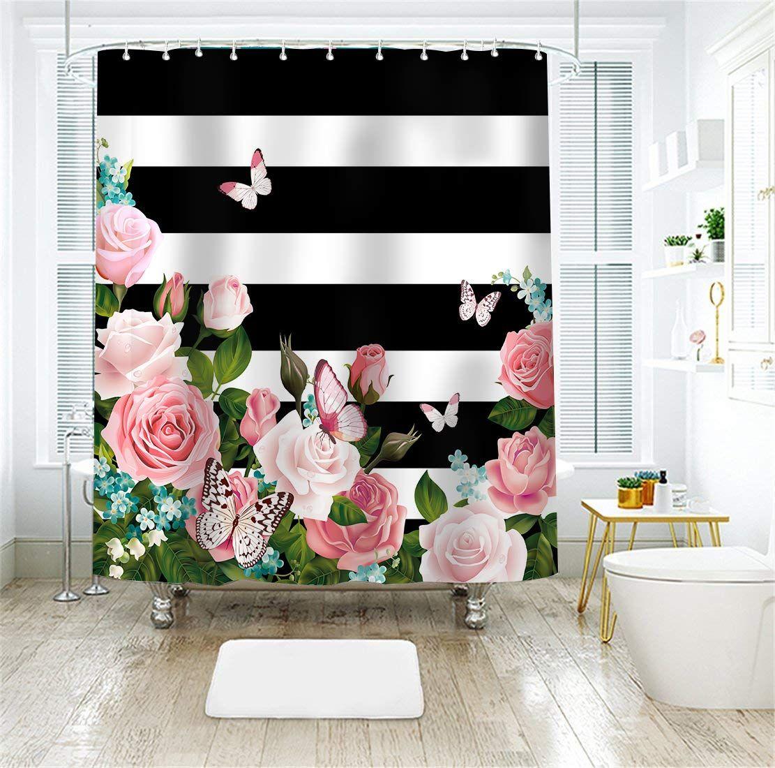 Livilan Striped Shower Curtain Black And White Stripes Bath