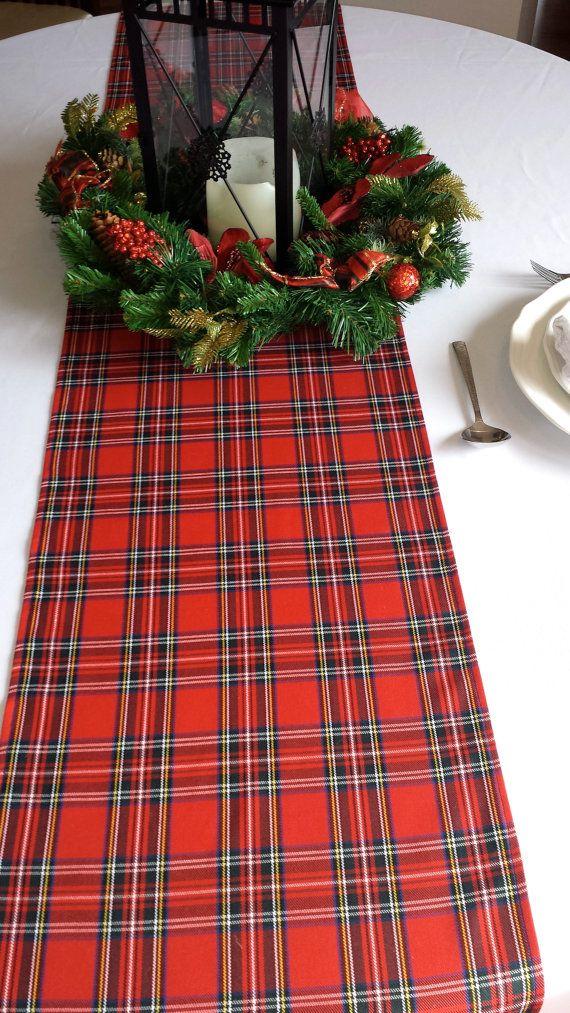 christmas table runner plaid tartan check red black gold white