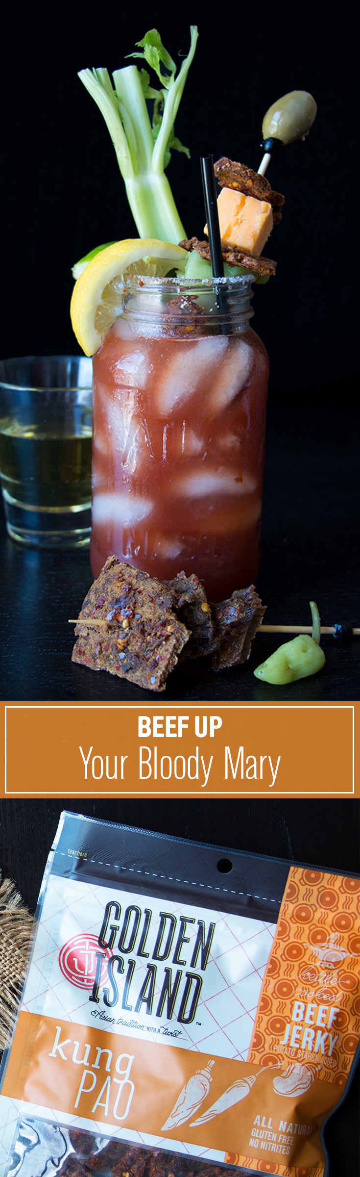 Beef up your Bloody Mary—literally. Garnish the brunch must-have with our Kung Pao Beef Jerky for a subtle Asian take on the classic.   What you'll need: Bloody mary mix and vodka. Garnishes: lemon, lime, celery, cheese, olive, salt, and Kung Pao Golden Island Beef Jerky.