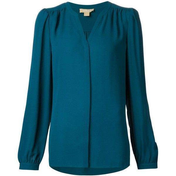06d4a0f659391 Michael Kors slit neck longsleeved blouse ( 930) ❤ liked on Polyvore  featuring tops