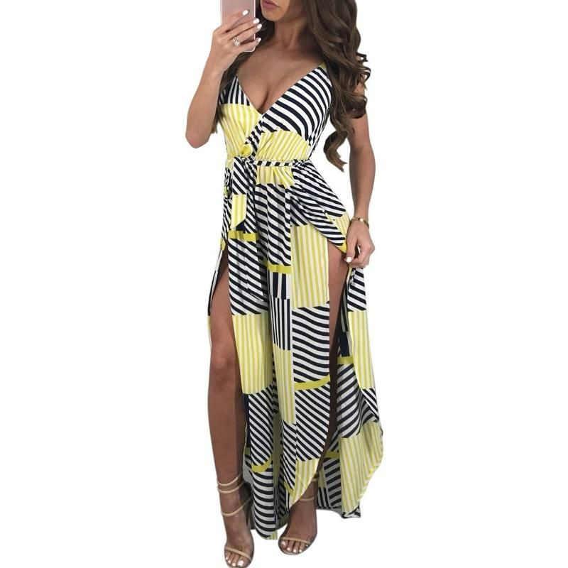 0bf3ea204322 Summer women s jumpsuit One piece Womens Striped Deep V-Neck Slit  Sleeveless Print Maxi Romper Boho jumpsuits for women 2018