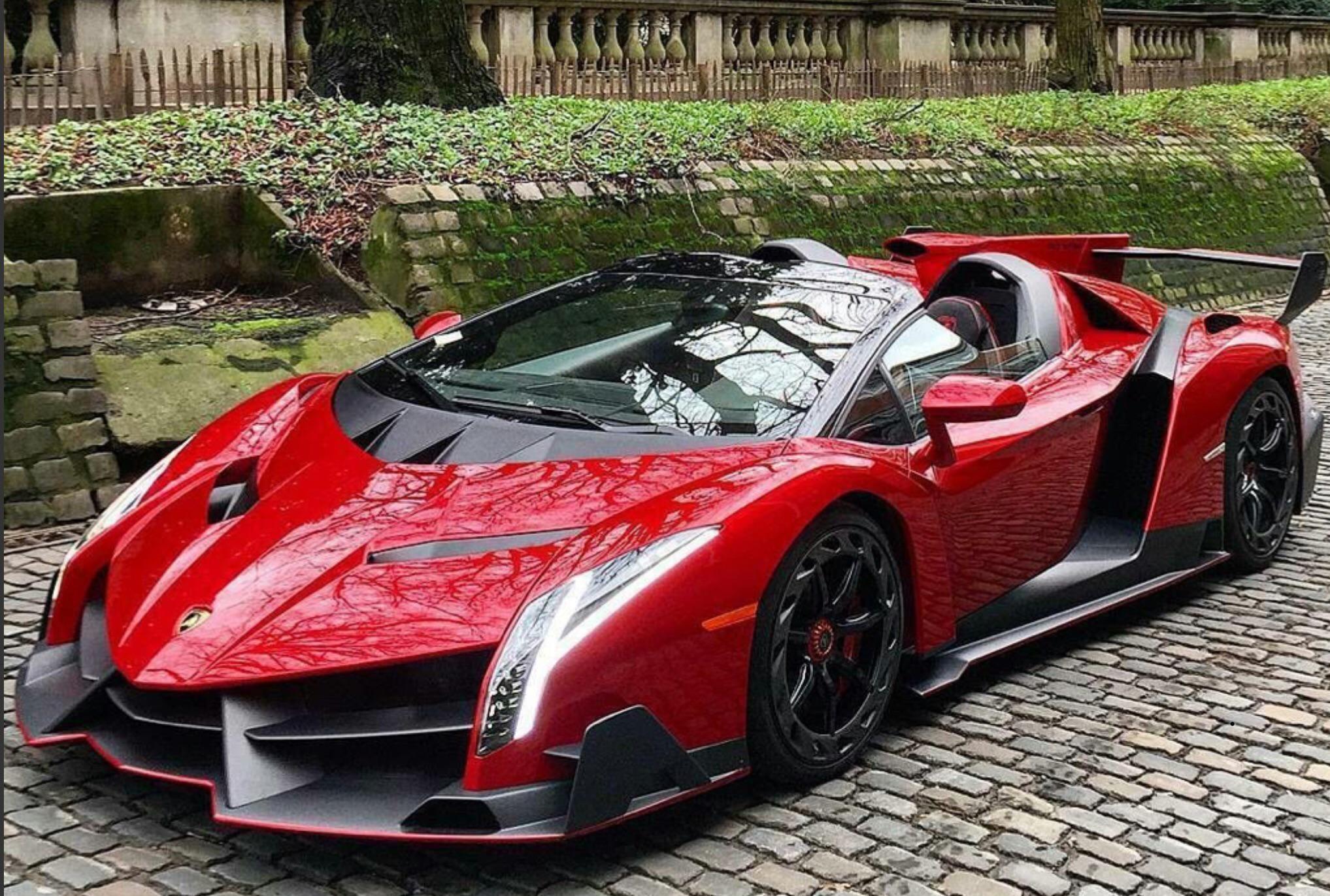 Red Lamborghini Veneno Roadster Carporn