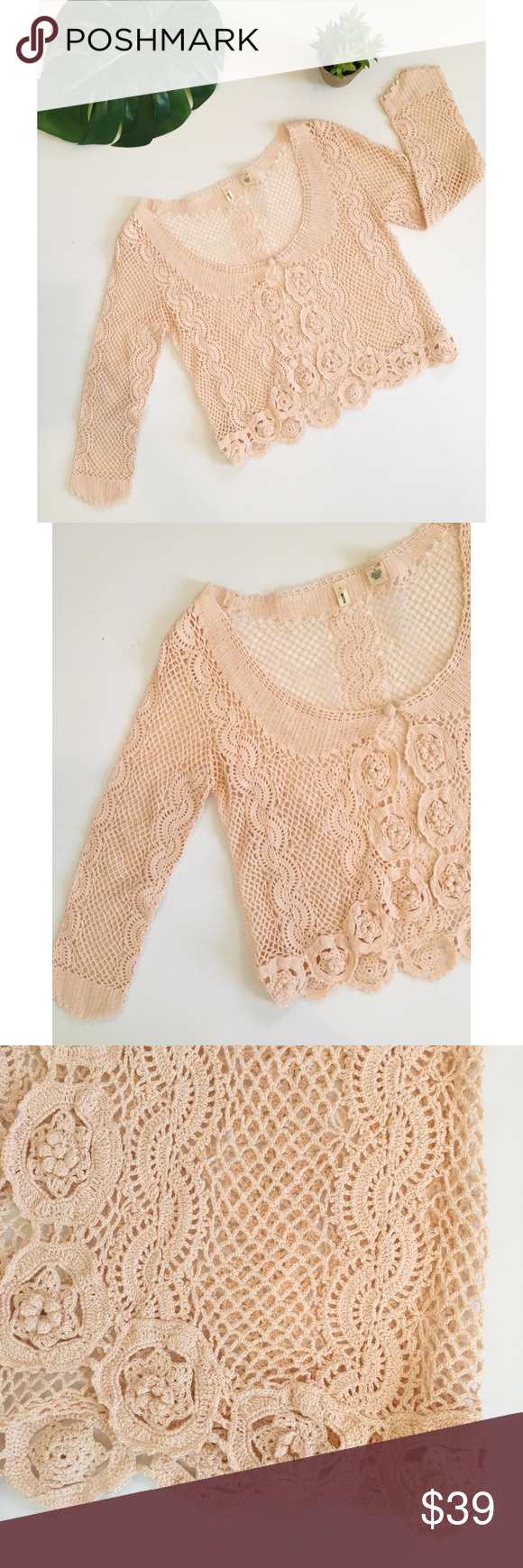 Anthropologie Moth Pink Crochet Lace Cardigan