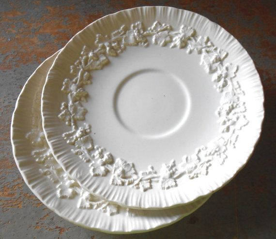 Vintage Plates Saucers Wedgwood Embossed Queens Ware White Grapes Grape LeavesTea Cup Saucers Cake Plate 1947 & Vintage Plates Saucers Wedgwood Embossed Queens Ware White ...