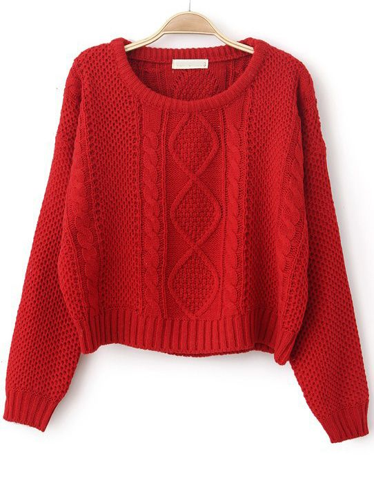 Red Long Sleeve Cable Knit Pullover Sweater - Sheinside.com ...