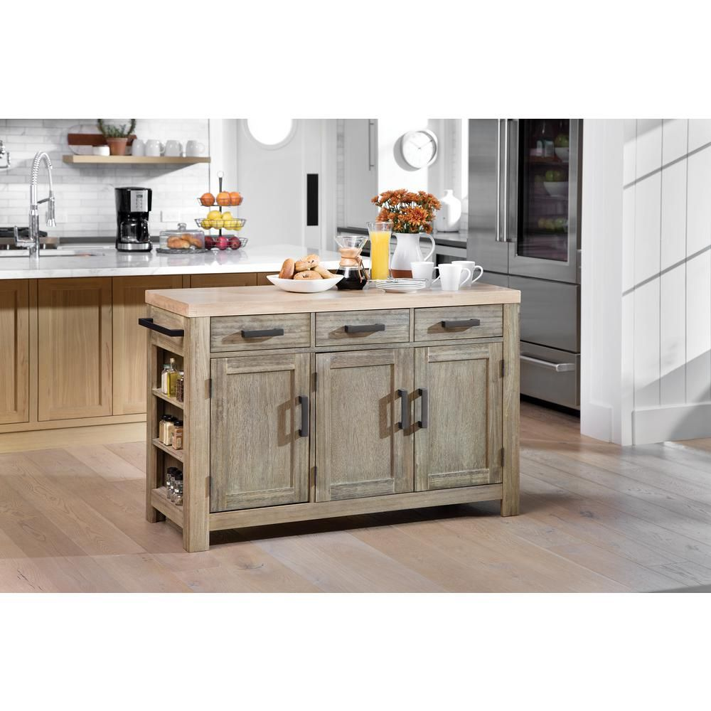Osp Home Furnishings Cocina Kitchen Island Grey Wash With Wood Top And Frame Bp 4211 0607 The Home Depot Grey Kitchen Island Kitchen Furniture Kitchen Island With Seating