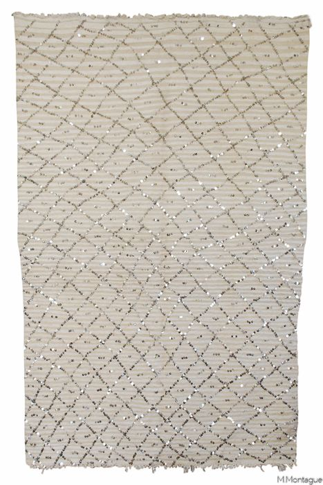Vintage Moroccan Wedding Blanket With Shiny New Sequinning In A Chic Diamond Pattern Beautiful Ivory Back Striping All Wool And Cotton