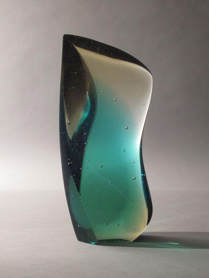 Kiln-cast, cold-worked glass by Weston Lambert