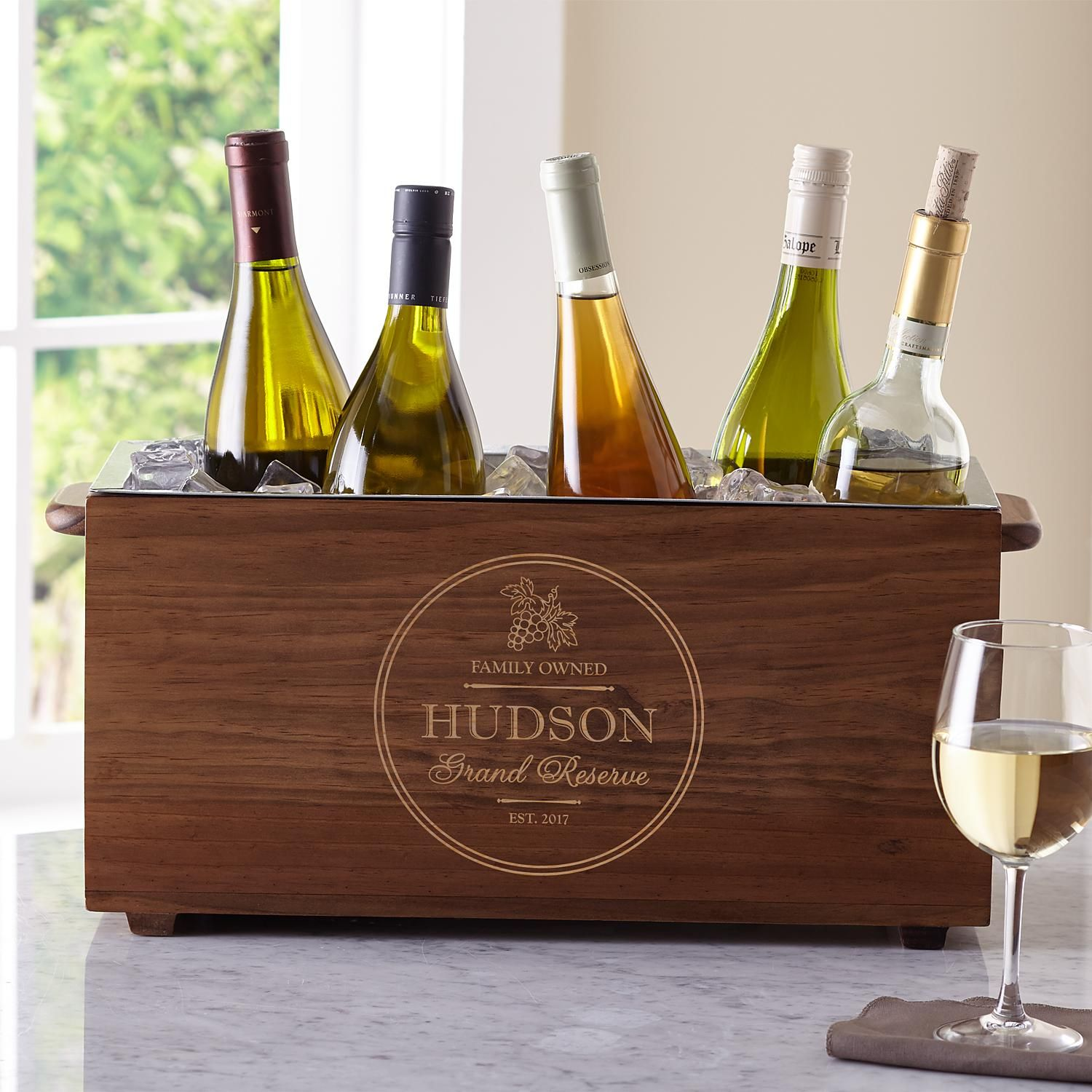 8e3b6a0db8 Personalized Grand Reserve Wooden Wine Chiller - Personal Creations Gifts