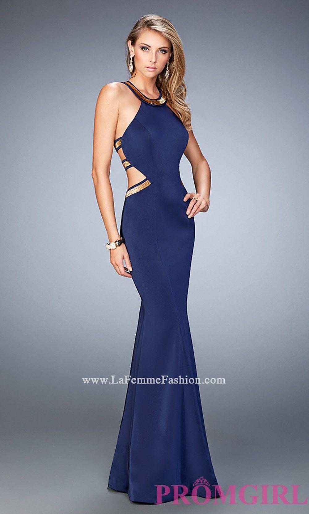 c730cae3f450 La Femme Long Open Back High Neck Prom Dress Style: LF-22568 ...
