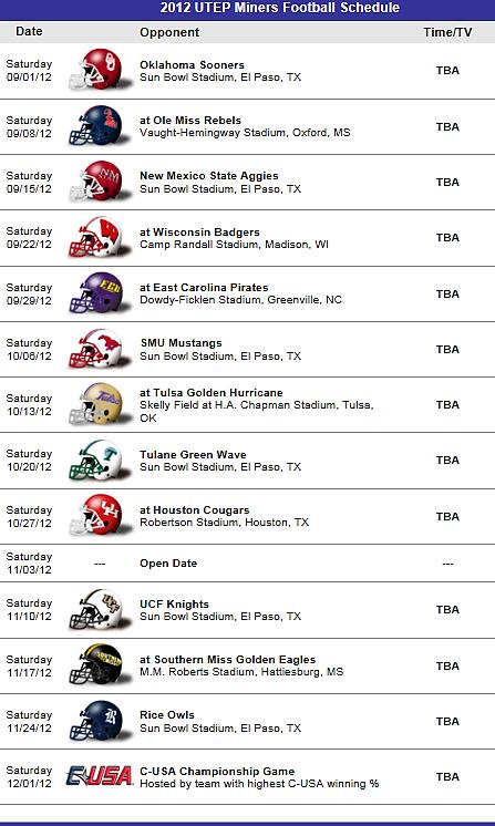 Utep Miners Football Team 2012 Schedule Eric Florida State Football Buckeyes Football Florida State Seminoles